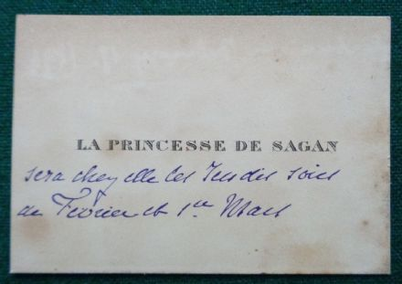Antique Annotated Calling Card from King Edward VII Mistress Princess de Sagan
